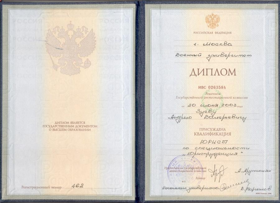 Диплом о высшем образовании Зуева А.В.